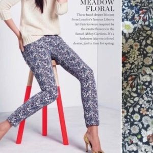 J. Crew Navy Floral Toothpick Pants, Size 29